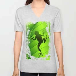 Frog Shape on Green Leaf Unisex V-Neck