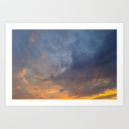 Saturated colors of the sky at sunset Art Print