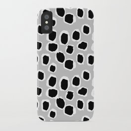 Tess - black and white grey minimal modern abstract dots painting brushstrokes free spirit ink  iPhone Case
