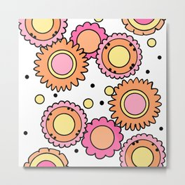 Retro Style Doodle Flowers - Orange Pink Yellow Metal Print