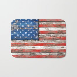 USA Vintage Wood Bath Mat