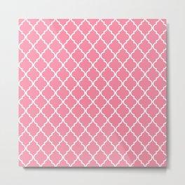 Moroccan Trellis, Latticework - Pink White Metal Print