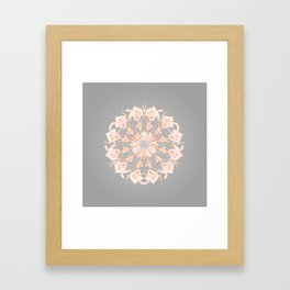 Rose Gold Gray Lilies Mandala Framed Art Print
