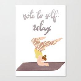 Just Relax | Yoga Girl | Body Positive Illustration Artwork Canvas Print