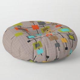 Mid-Century Modern Squares Pattern Floor Pillow