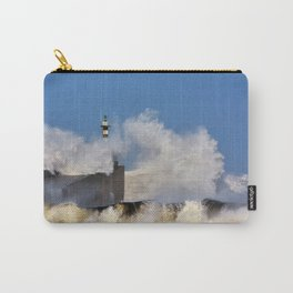 Stormy wave over lighthouse and pier of San Esteban de Pravia Carry-All Pouch