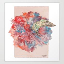 A Parakeet Breaks Through the Barrier Art Print