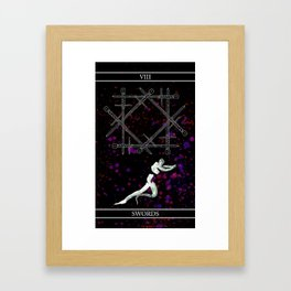 A Tarot of Ink 08 of Swords Framed Art Print