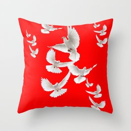 FLOCK OF WHITE PEACE DOVES ON RED COLOR Throw Pillow