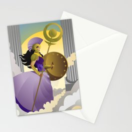 greek roman goddess athena minerva with shield and staff in the sky Stationery Cards