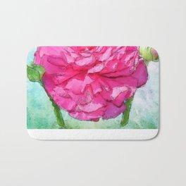 Spring Painterly Rose Petals on Pastels Bath Mat