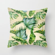 Green Tropics Leaves on Linen Throw Pillow