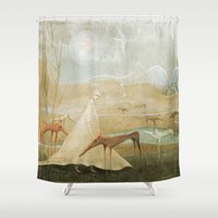finding nemo Shower Curtains featuring Finding Solace by Fizzyjinks
