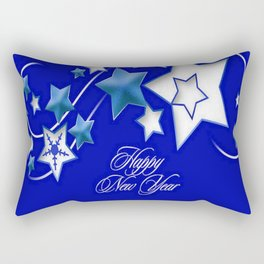 Teal and Blue Happy New Year Shooting Stars Rectangular Pillow