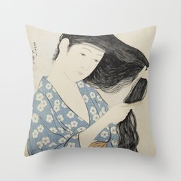 Goyō Hashiguchi Woman Combing Her Hair Japanese Woodblock Print Throw Pillow
