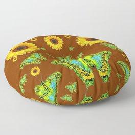 COFFEE BROWN SUNFLOWERS & GREEN MOTHS Floor Pillow