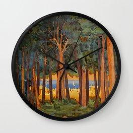 Viareggio woods and sea Wall Clock