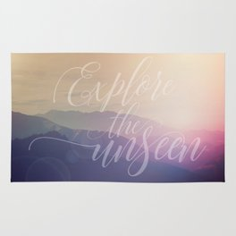 Motivational Typography And Scenic View Rug