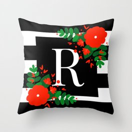 R - Monogram Black and White with Red Flowers Throw Pillow