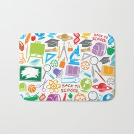education and school icons background (seamless pattern) Bath Mat