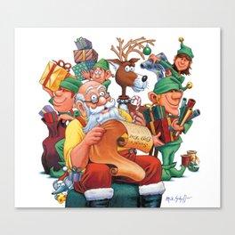Santa checking his list with elves Canvas Print