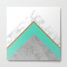 Concrete Teal Triangles Metal Print