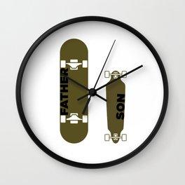 Skater Father Son Dad Skateboard Skateboarding Gift Wall Clock