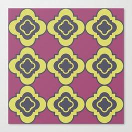 Quatrefoil - mauve, blue and yellow Canvas Print