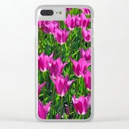 Beautiful purple tulips in sunshine Clear iPhone Case