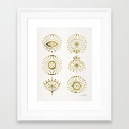 Evil Eyes – Gold Palette Framed Art Print