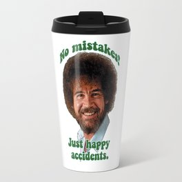 BOB ROSS PBS Painter Painting Show No Mistakes Just Happy Accidents Travel Mug