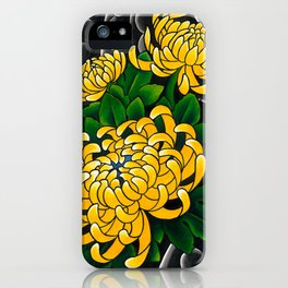 Japanese tattoo style sumi ink wash and watercolor chrysanthemum   iPhone Case