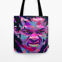 nba Tote Bags featuring RUSSELL WESTBROOK: NBA ILLUSTRATION V2 by mergedvisible