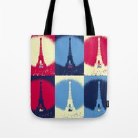eiffel tower Tote Bags featuring Eiffel Tower by Aloke Design