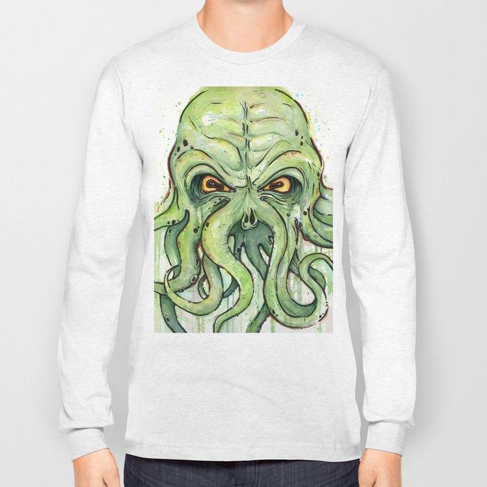 Cthulhu HP Lovecraft Green Monster Tentacles Long Sleeve T-shirt