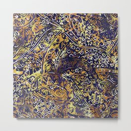 Blue Hawaiian Gold Yellow Ancient Pattern Metal Print