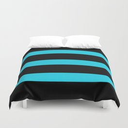 Hollywood Nights Black and Teal Stripes Duvet Cover
