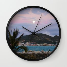 Moon Rising Over the Caribbean Wall Clock