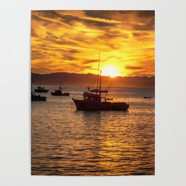 The Best Part of Waking Up boats in Port San Luis at Sunrise Poster