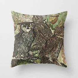 My owls in batik style Throw Pillow
