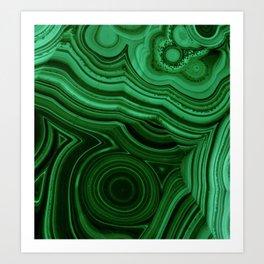 GREEN MALACHITE STONE PATTERN Art Print