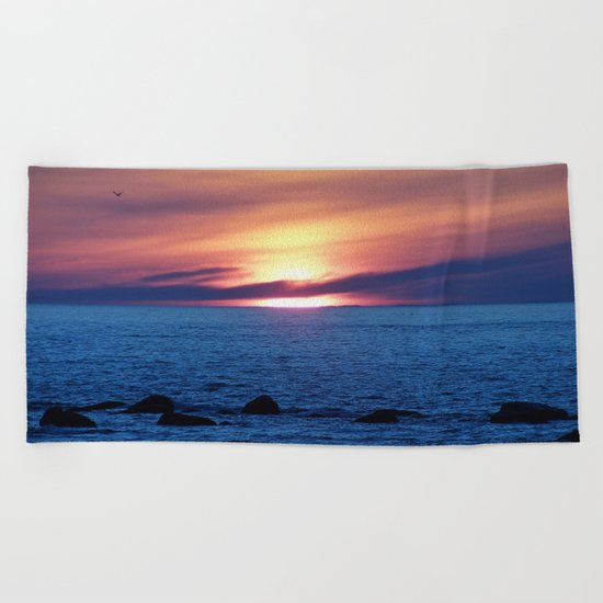 Sunset over Blue Waters Beach Towel