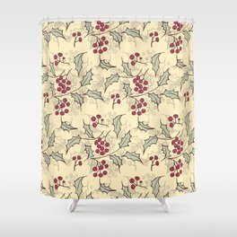 Holly berry Christmas pattern design Shower Curtain