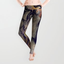 Sugar Coated Sour: Autumn (nude curvy pin up with butterflies) Leggings