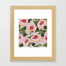 Pink Power, Large Pink Roses Graphic Design Framed Art Print
