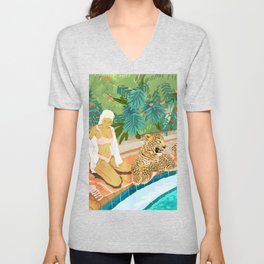 The Wild Side, Human & Nature Connection, Woman With Cheetah Cat, Tiger Painting Unisex V-Neck