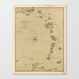 Map of the Caribbee, Granadilles & Virgin Isles (1789) Canvas Print
