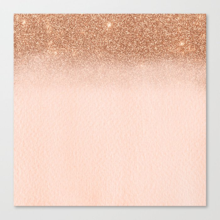 Rose Gold Ombre Fading Waterfall Glitter Sparkle Canvas Print by ... b3f4a8d595