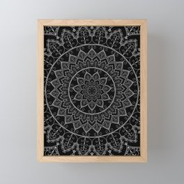 Black and White Lace Mandala Framed Mini Art Print