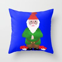 gnome Throw Pillows featuring Gnome by lescapricesdefilles